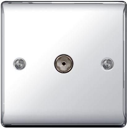 BG Nexus Metal Polished Chrome Coax TV Socket NPC60
