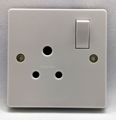 Crabtree 2330 Capital White Moulded 1 Gang Single Pole Shuttered Round Pin Switchsocket 5A