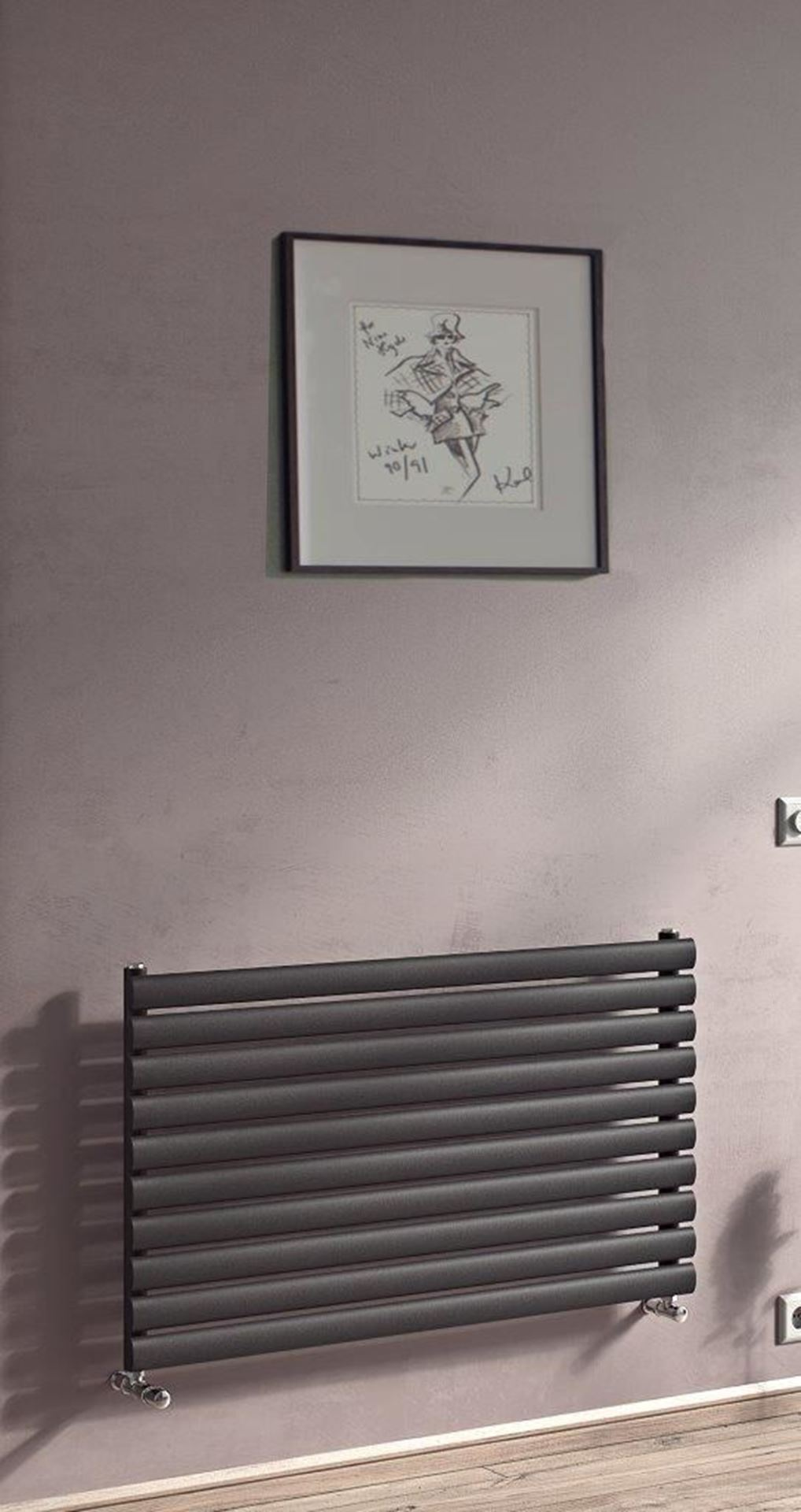Sofia Horizontal Anthracite Single Radiator 584mm x 1000mm 2039 BTU