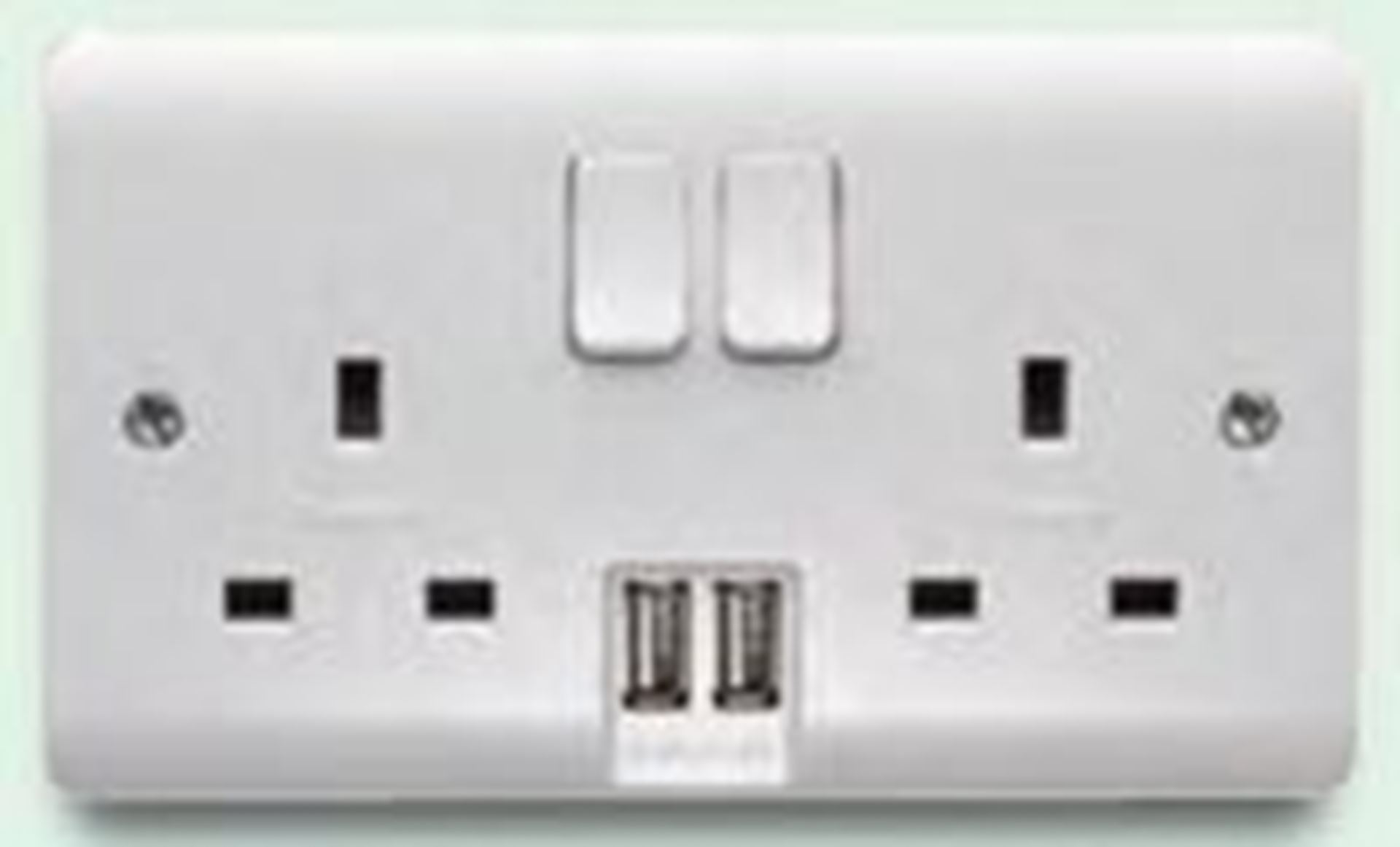 13A 2G DP SWITCHED SOCKET DUAL EARTH WITH 2.1A TWIN USB CR1306USB/D