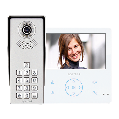 Aperta  Video Door Entry Kit - Colour c/w Keypad White Monitor  with Record & Play Back Facility