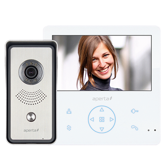 Aperta Video Door Entry Kit APKITG - Colour White Monitor  with Record & Play Back Facility