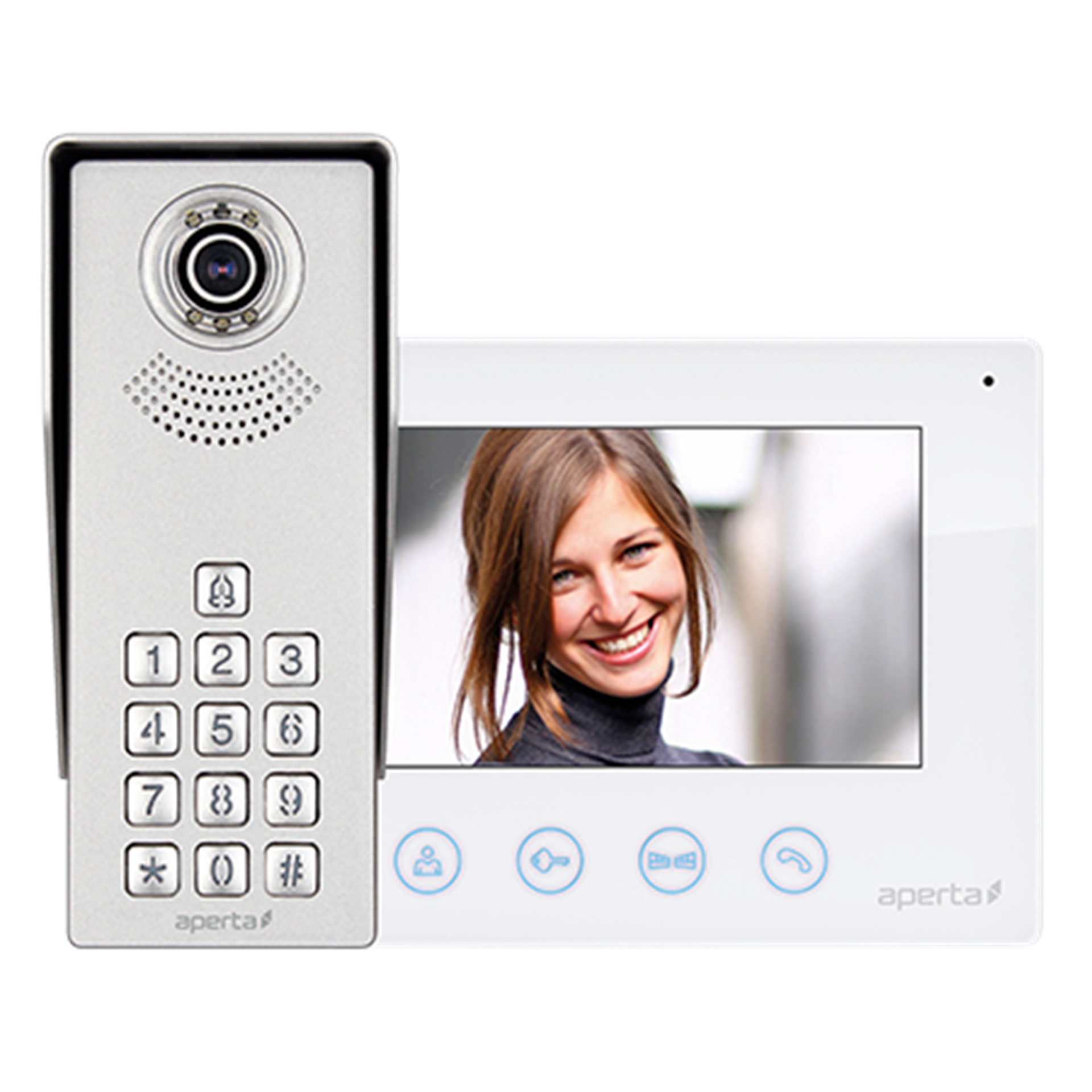 Aperta Video Door Entry Kit APKITKP Colour c/w Keypad White