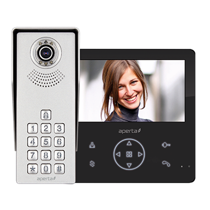Aperta  Video Door Entry Kit - Colour c/w Keypad Black Monitor  with Record & Play Back Facility APKITKPGBLK