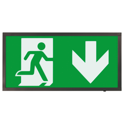 EMLED3WMEXBOXBKD 3W LED Maintained Emergency Black Sign DOWN