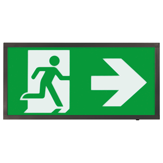 EMLED3WMEXBOXBKR 3W LED Maintained Emergency Black Sign RIGHT