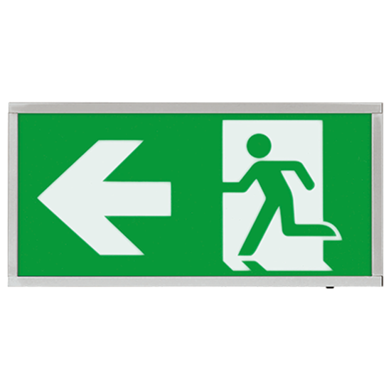 EMLED3WMEXBOXCHL 3W LED Maintained Emergency Chrome Sign LEFT
