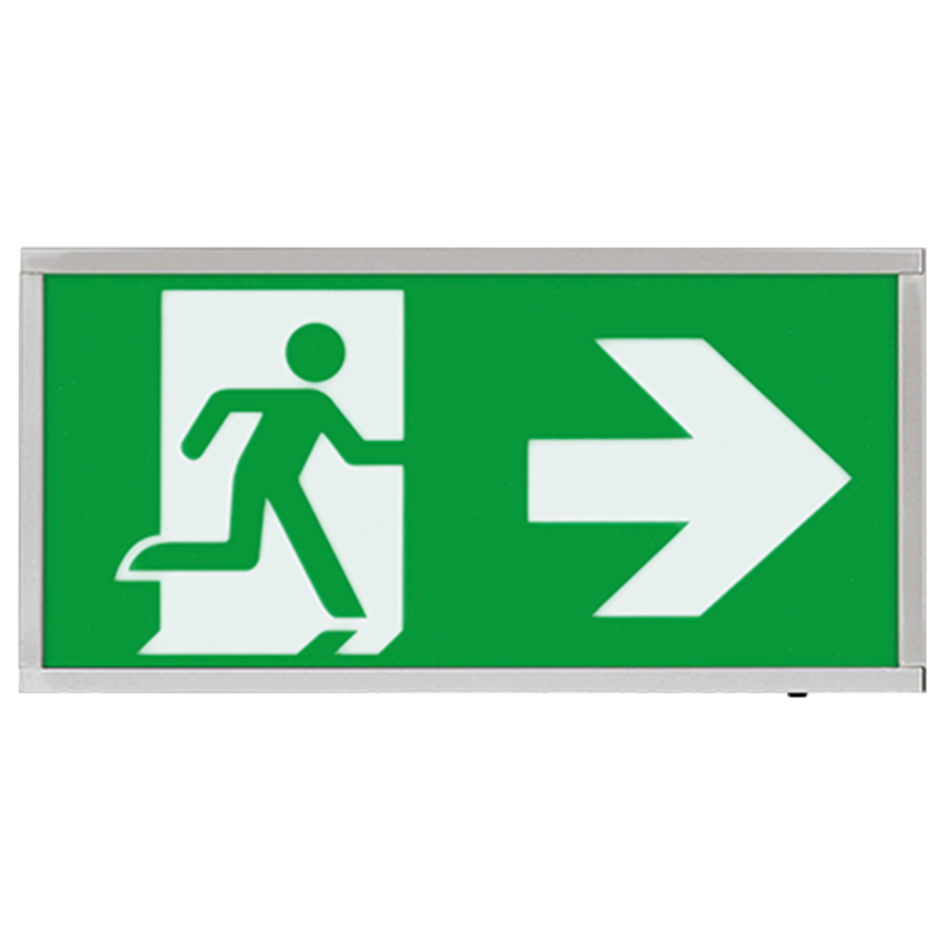 EMLED3WMEXBOXCHR 3W LED Maintained Emergency Chrome Sign RIGHT