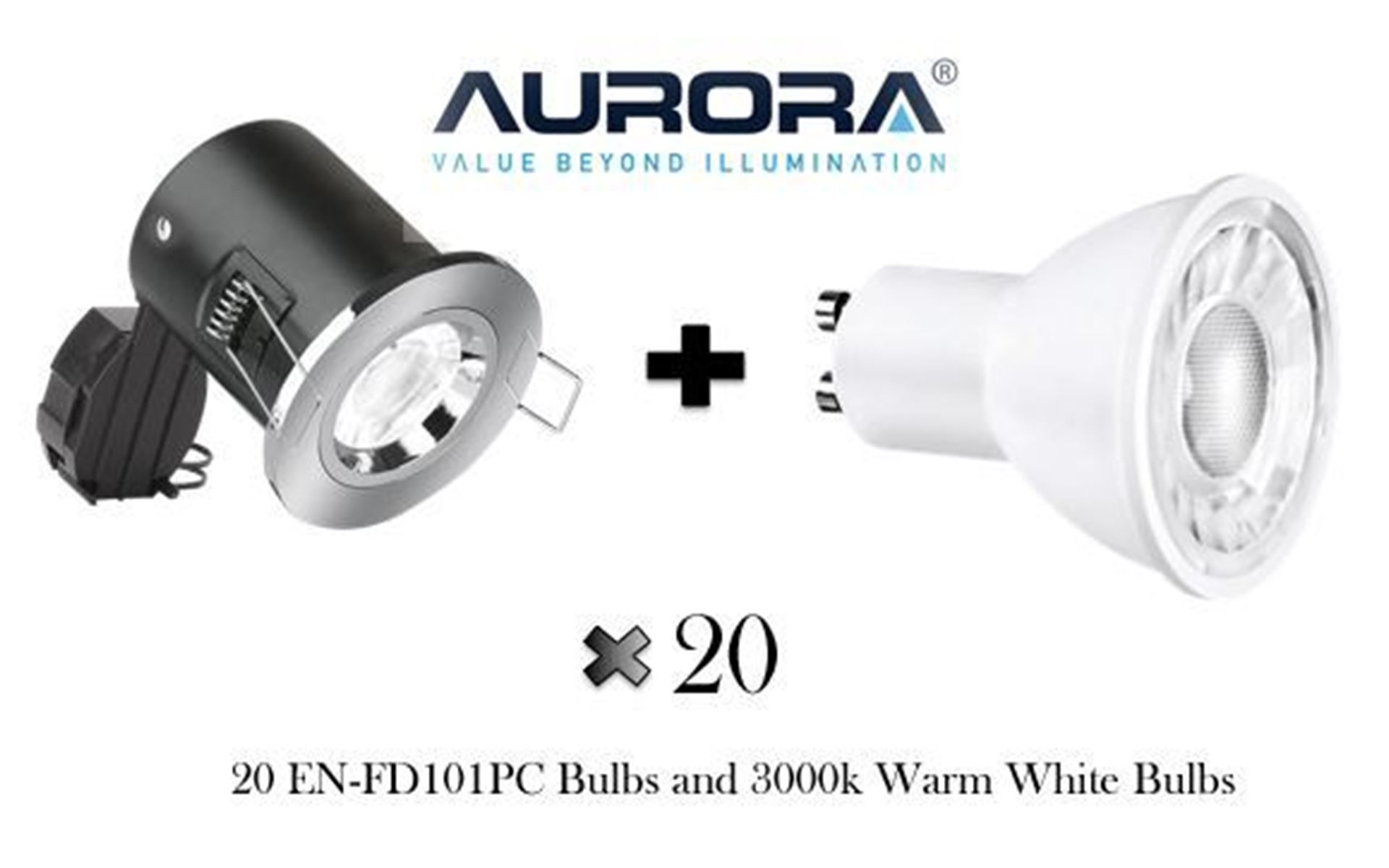 Includes 20- EN-FD101PC Fire Rated Downlights and EN-GU005/30 Bulbs