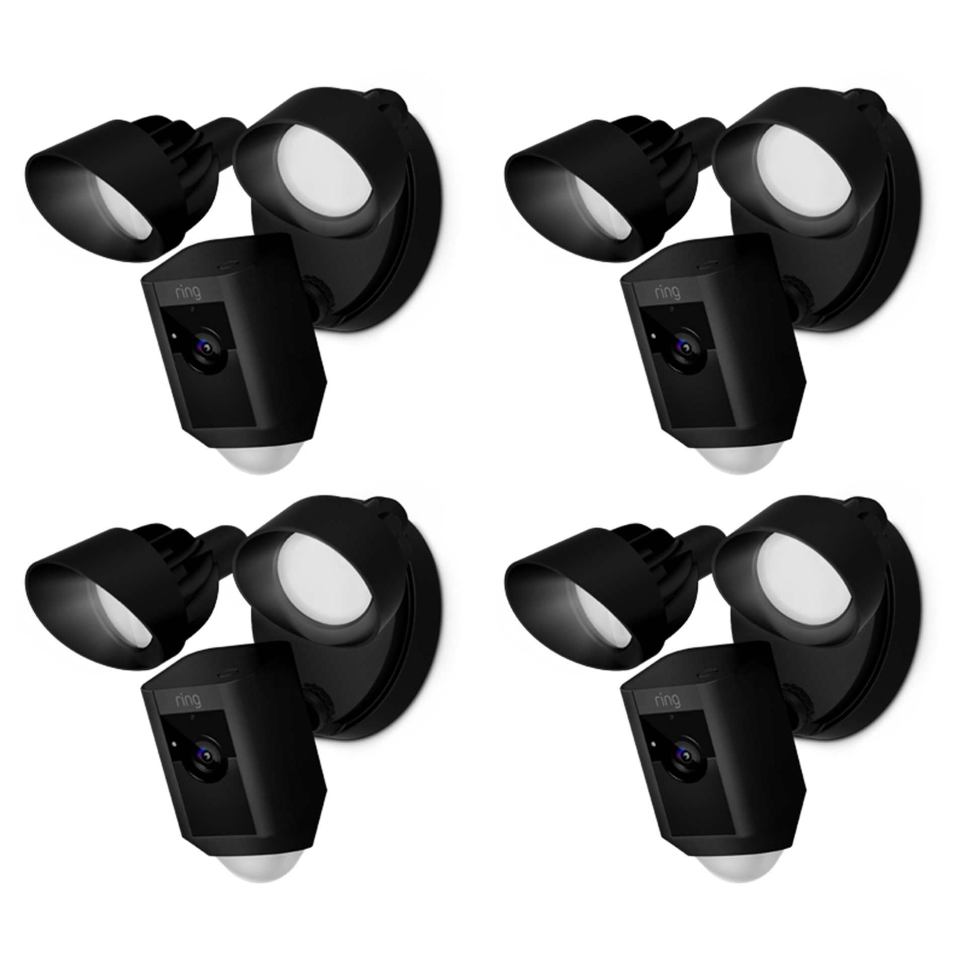 4-Pack Black Spotlight Cam Wired