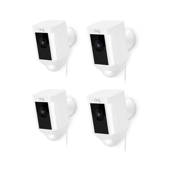 4-Pack White Spotlight Cam Wired