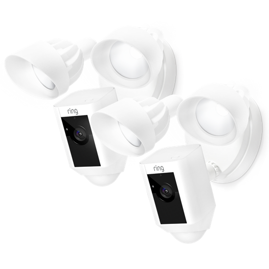 2-Pack White Floodlight Cams