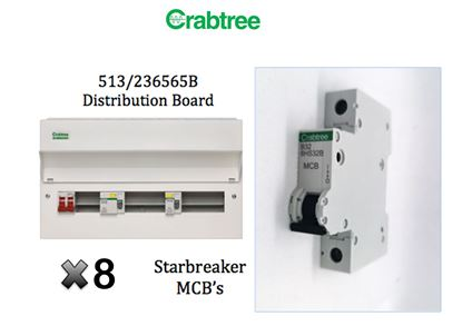 Crabtree 513/236565B Consumer Unit and 8 MCB's Bundle