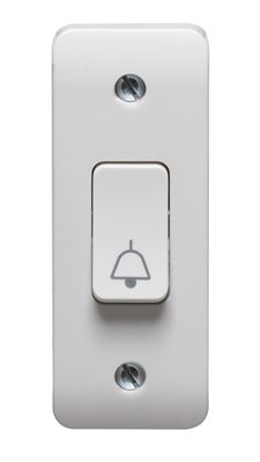 CRABTREE INSTINCT 10A 1G 2 WAY RETRACTIVE ARCHITRAVE SWITCH PRINTED BELL SYMBOL CR1179/BS