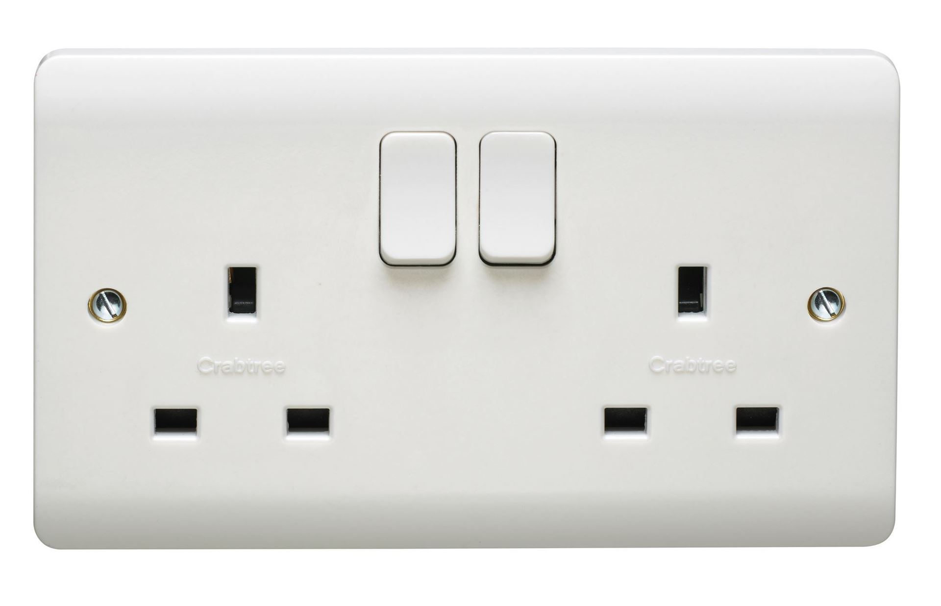 CRABTREE INSTINCT 13A 2G DP SWITCHED SOCKET DUAL EARTH CR1306/D