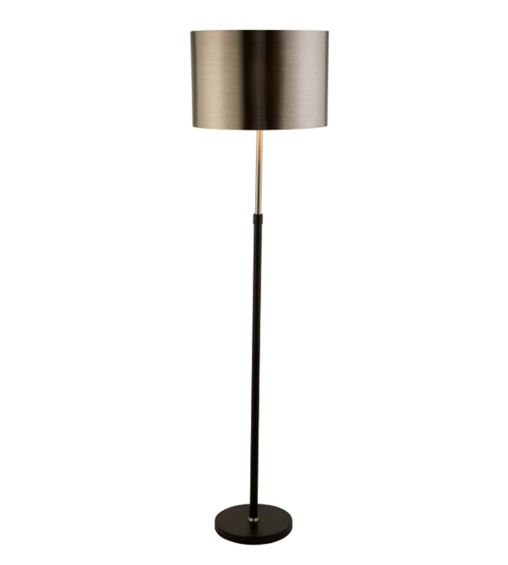 SEARCHLIGHT BLACK AND CHROME FLOOR LAMP WITH BRUSHED BLACK CHROME SHADE 3879BK
