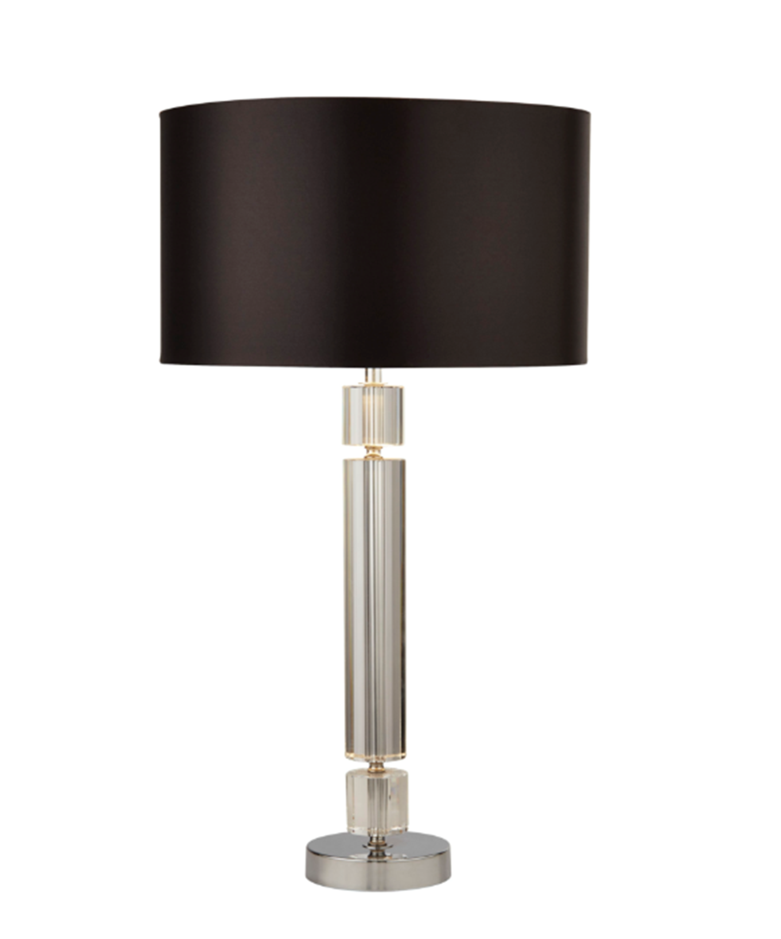 SEARCHLIGHT CHROME/GLASS TABLE LAMP WITH BLACK SHADE SILVER INNER 9387CC