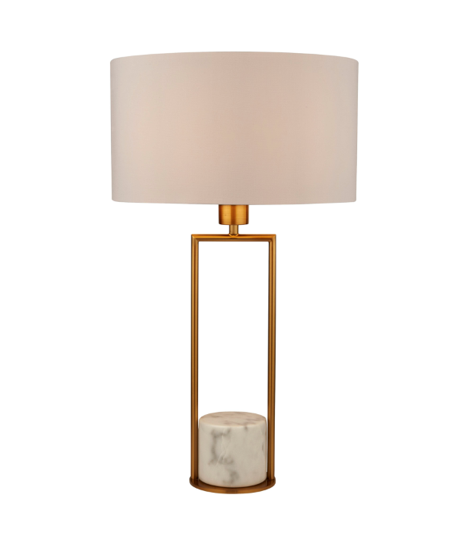 SEARCHLIGHT GOLD TABLE LAMP WITH WHITE MARBLE BASE AND WHITE DRUM SHADE 2871GO