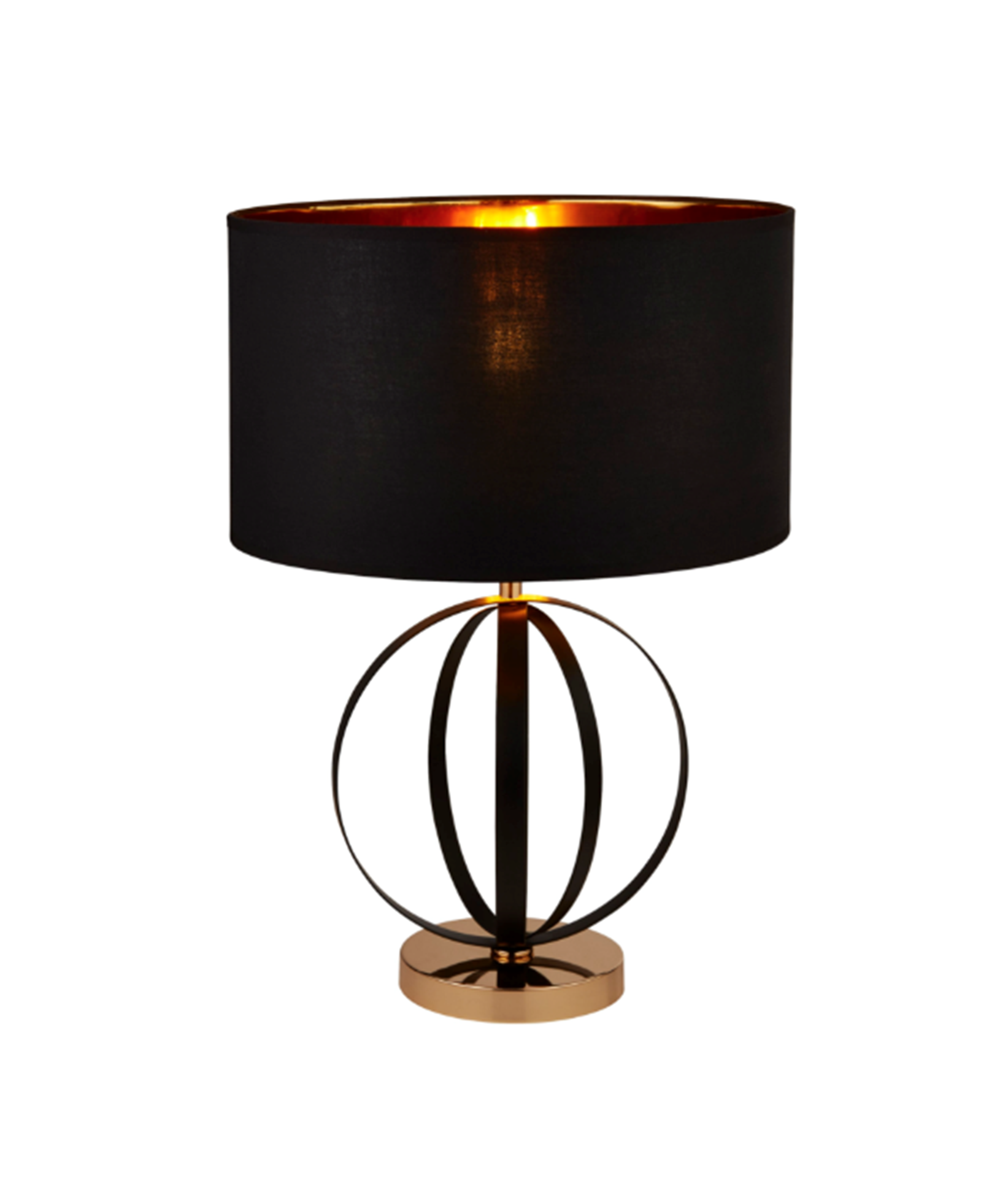 SEARCHLIGHT BLACK AND GOLD TABLE LAMP WITH BLACK SHADE, GOLD INNER 8072BGO
