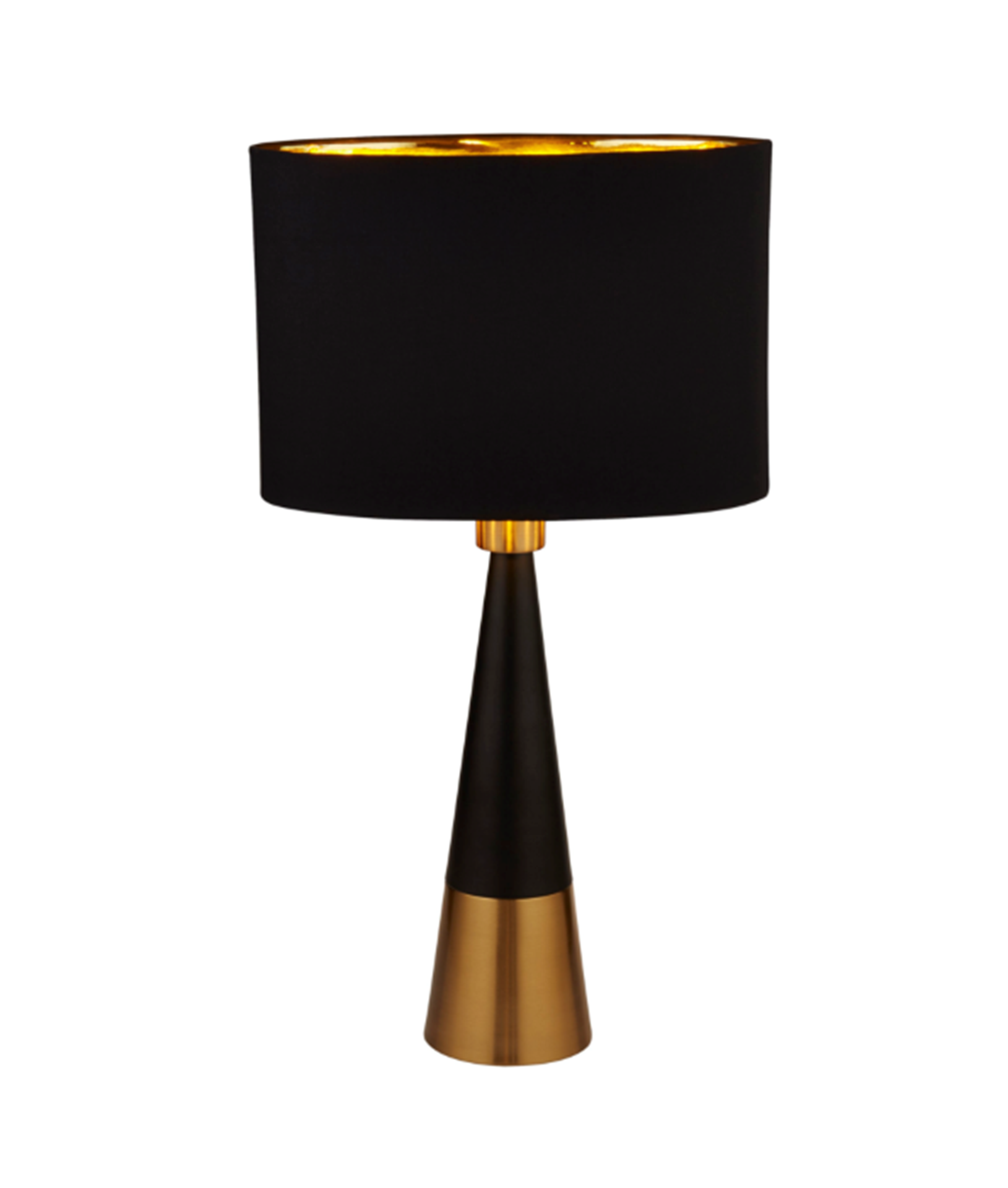 SEARCHLIGHT BLACK AND ANTIQUE COPPER PYRAMID TABLE LAMP WITH BLACK OVAL SHADE GOLD INNER 2743BGO