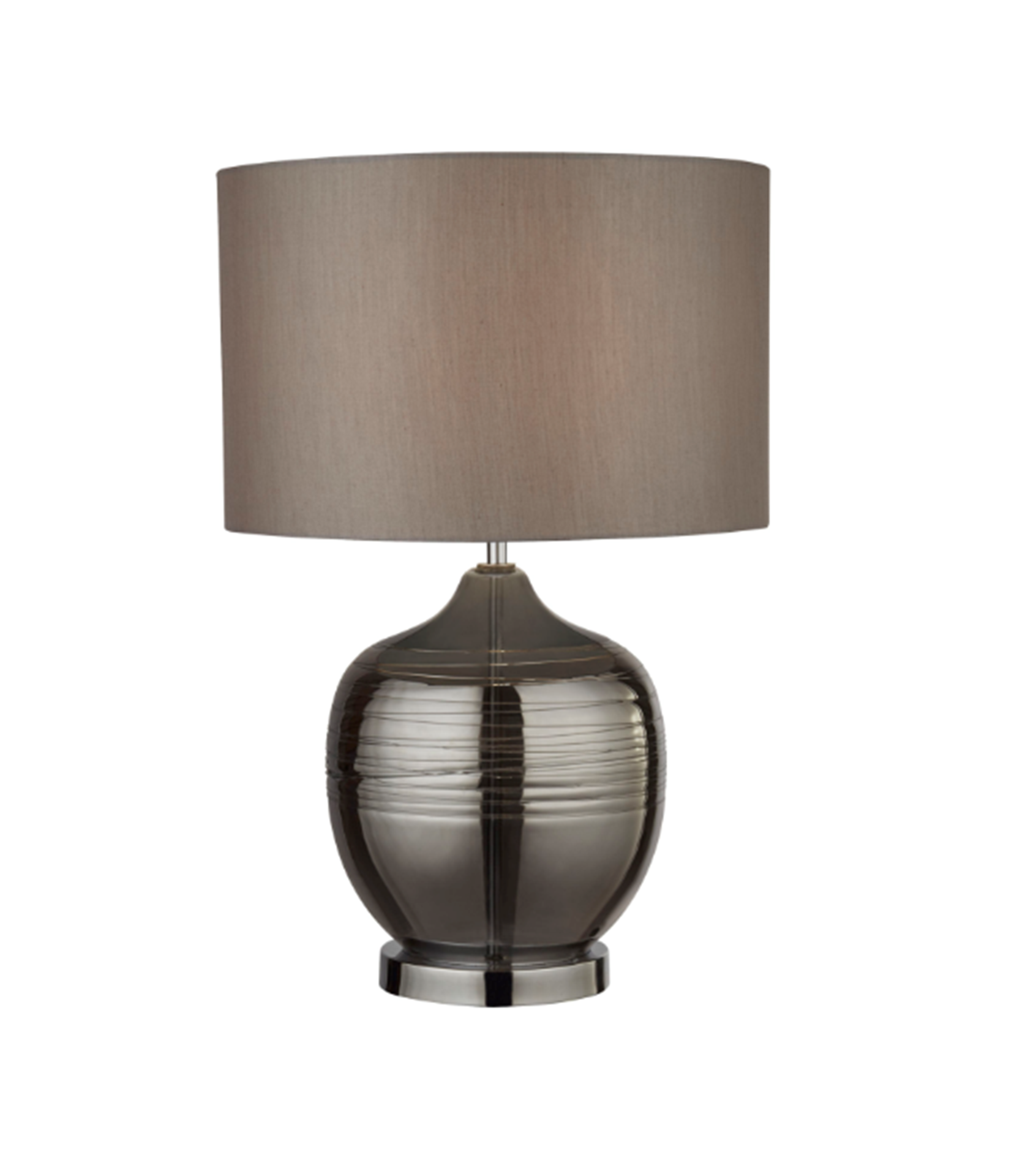 SEARCHLIGHT SMOKED RIDGED DETAIL GLASS TABLE LAMP WITH GREY DRUM SHADE 2837SM