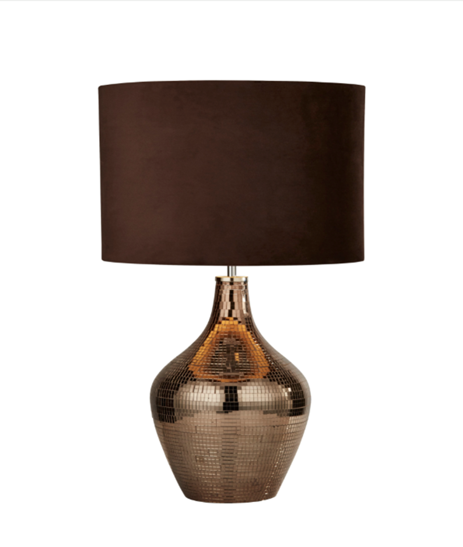 SEARCHLIGHT SMOKED MOSAIC TABLE LAMP WITH BROWN SUEDE SHADE 3847SM