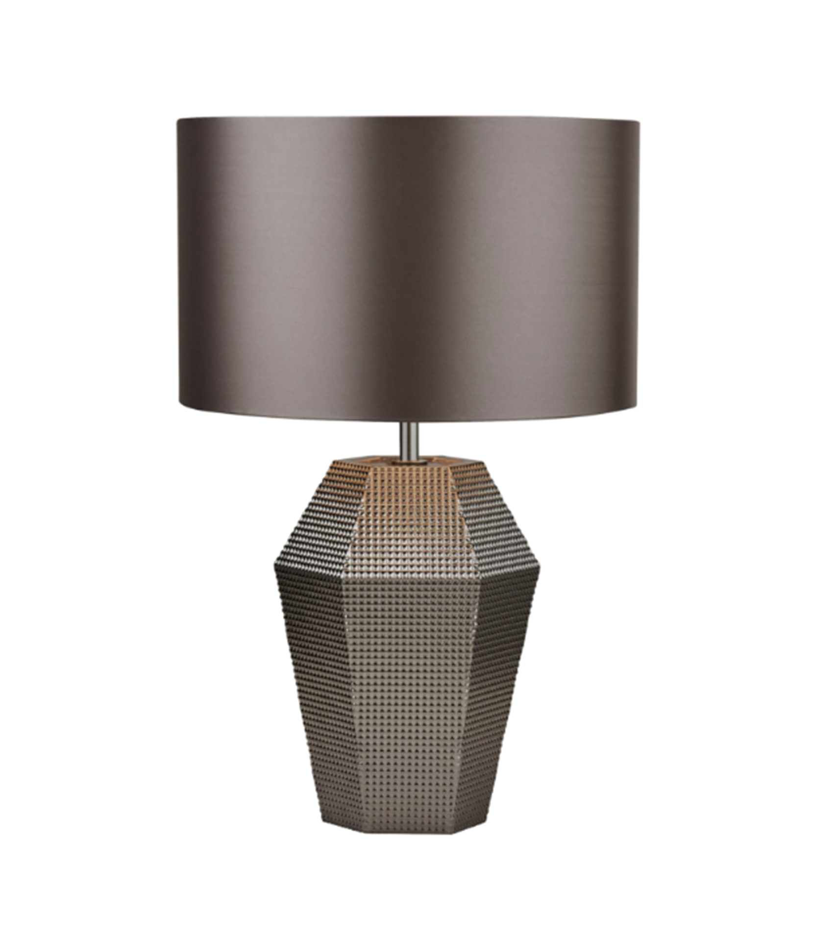SEARCHLIGHT SMOKED GLASS TABLE LAMP WITH GREY DRUM SHADE 8347SM
