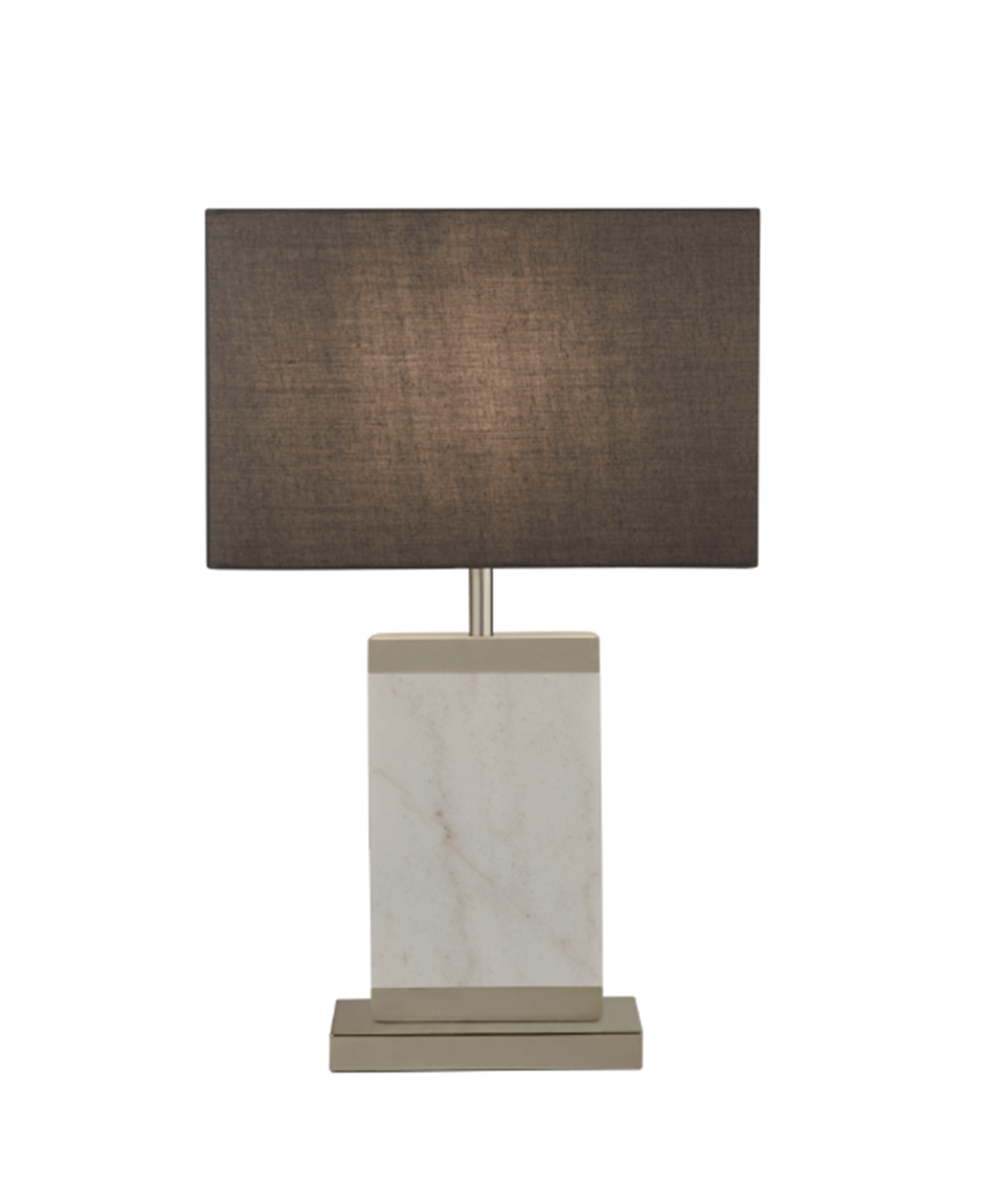 SEARCHLIGHT SATIN NICKEL AND WHITE MARBLE TABLE LAMP WITH GREY SHADE 9381SN