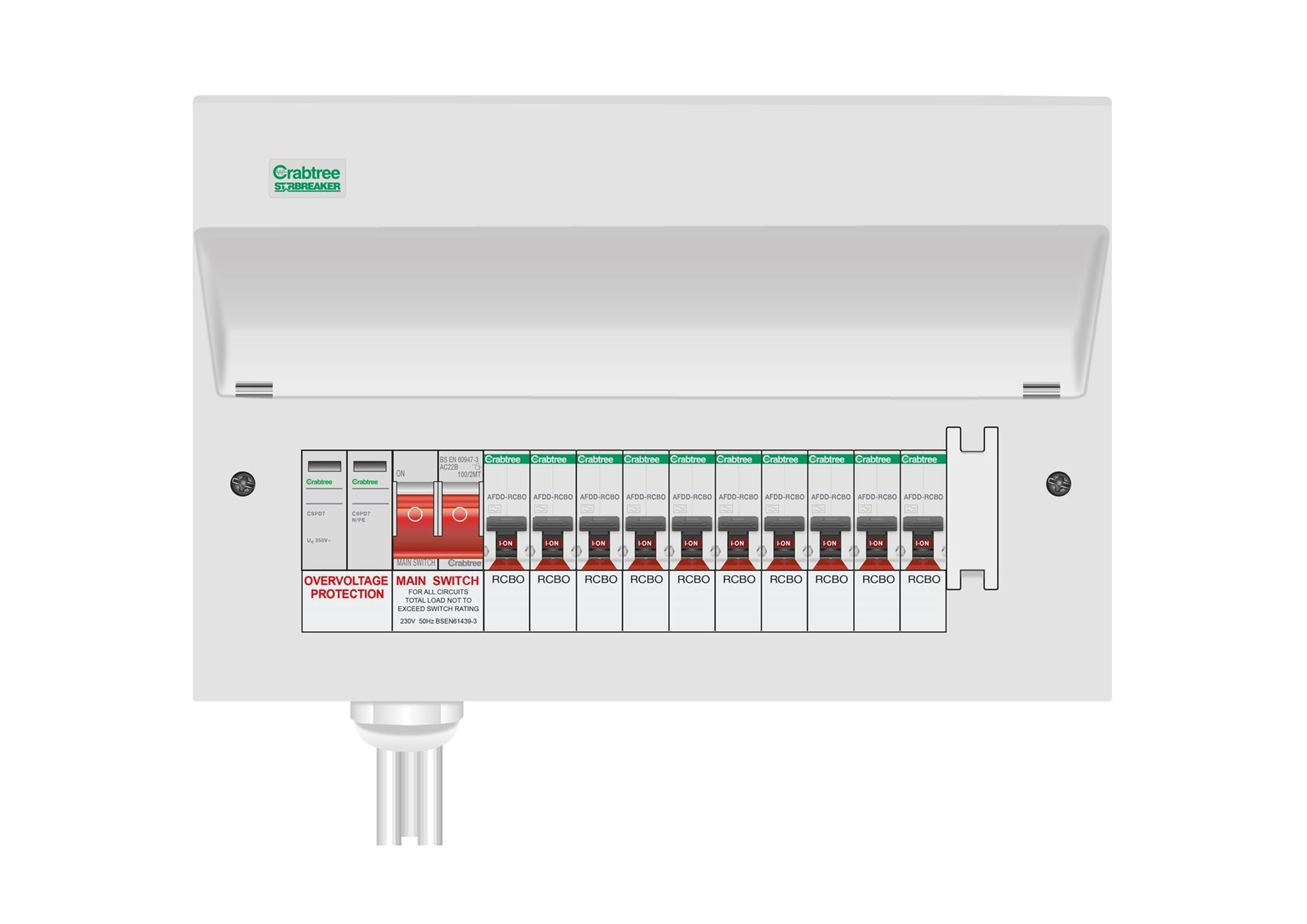 STARBREAKER CONSUMER UNIT WITH INTEGRAL TYPE 2 SURGE PROTECTION  Main Switch + SPD + 8 508/2BS