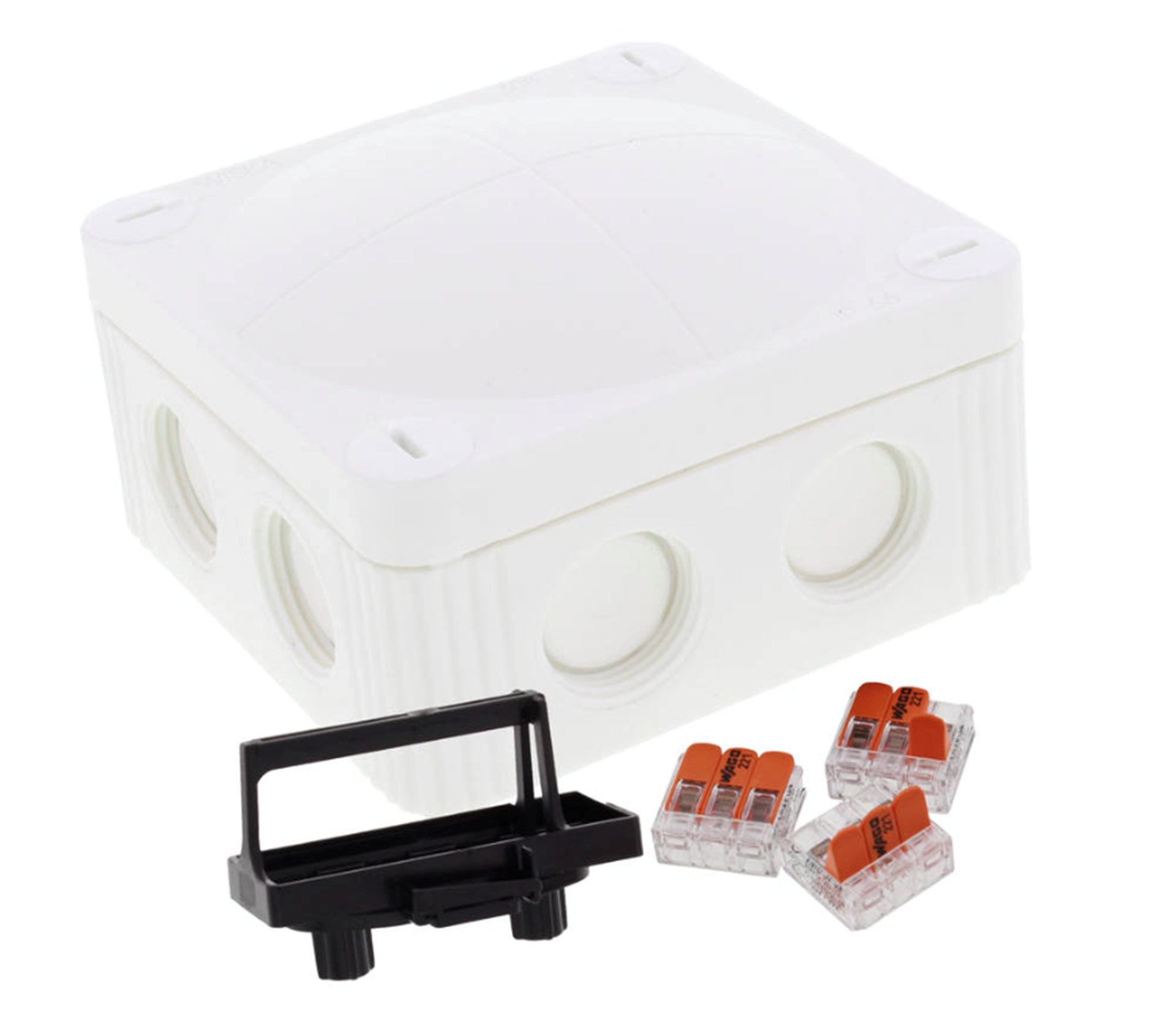 COMBI 308/221 Junction box Inc. 3 x 3 pole WAGO connectors & Mounting clip WH 10110405