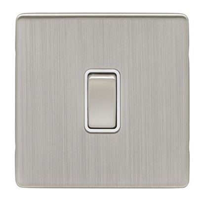 1 Gang 10Amp 2Way Eurolite Switch Concealed Satin Nickel Plate Matching Rocker White Trim ECSN1SW SNW