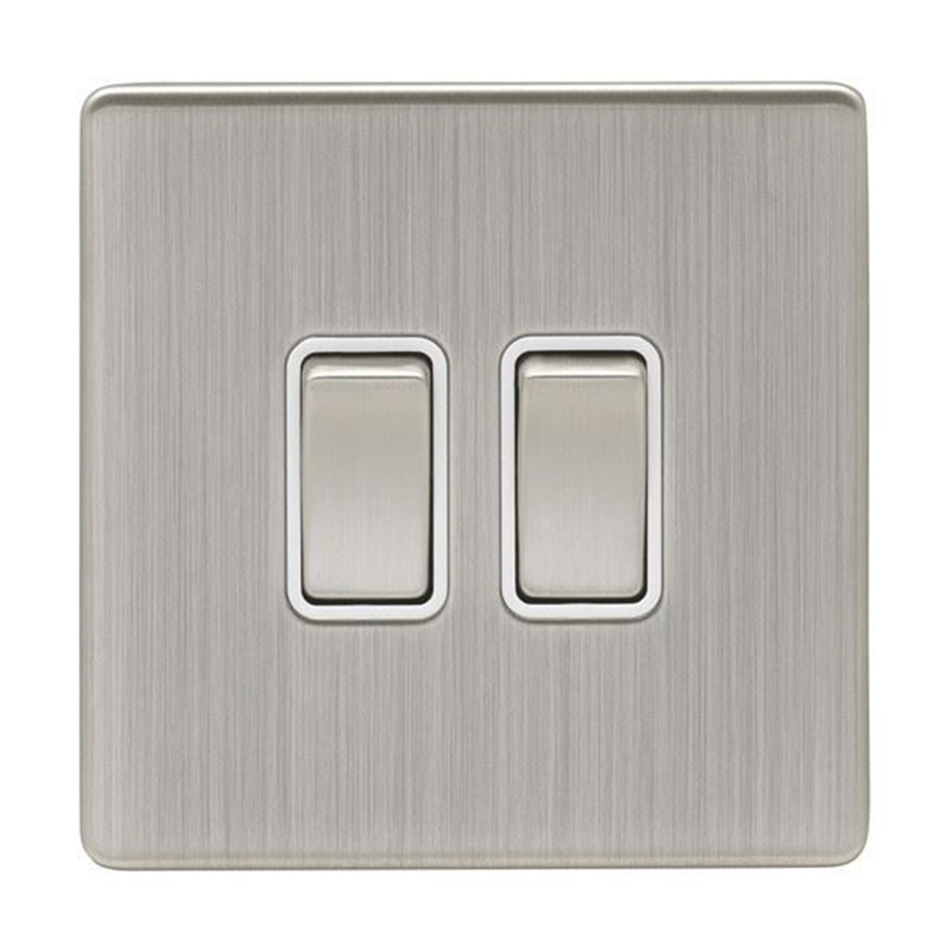 Eurolite 2 Gang 10Amp 2Way Switch Concealed Satin Nickel Plate Matching Rockers White Trim ECSN2SW SNW