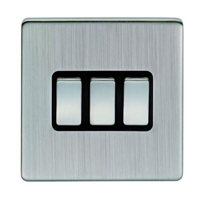 Eurolite 3 Gang 10Amp 2Way Switch Concealed Satin Nickel Plate Matching Rockers Black Trim ECSN3SW SNB