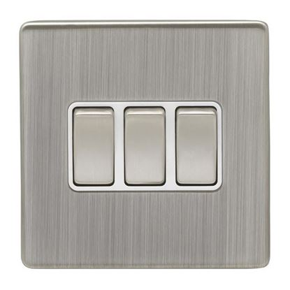 Eurolite 3 Gang 10Amp 2Way Switch Concealed Satin Nickel Plate Matching Rockers White Trim ECSN3SW SNW