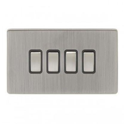 Eurolie 4 Gang 10Amp 2Way Switch Concealed Satin Nickel Plate Matching Rockers Black Trim ECSN4SW SNB
