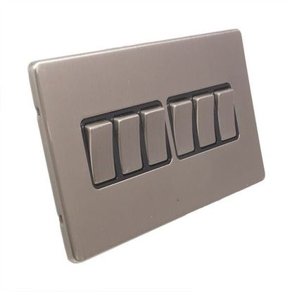 Eurolite 6 Gang 10Amp 2Way Switch Concealed Satin Nickel Plate Matching Rockers Black Trim ECSN6SW SNB