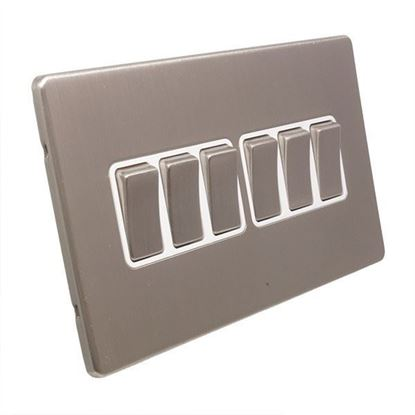 Eurolite 6 Gang 10Amp 2Way Switch Concealed Satin Nickel Plate Matching Rockers White Trim ECSN6SW SNW§