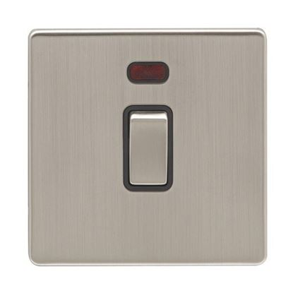 Eurolite 1 Gang 20Amp DP Switch With Neon Concealed Satin Nickel Plate Matching Rocker Black Trim ECSN20ADPSWN SNB