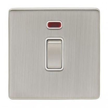 Eurolite 1 Gang 20Amp DP Switch With Neon Concealed Satin Nickel Plate Matching Rocker White Trim ECSN20ADPSWN SNW