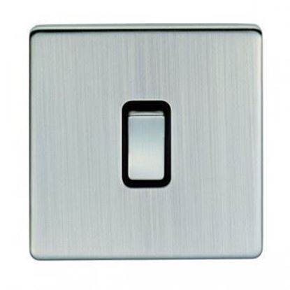 Eurolite 1 Gang 10Amp Intermediate Switch Concealed Satin Nickel Plate Matching Rocker Black Trim ECSNINT SNB