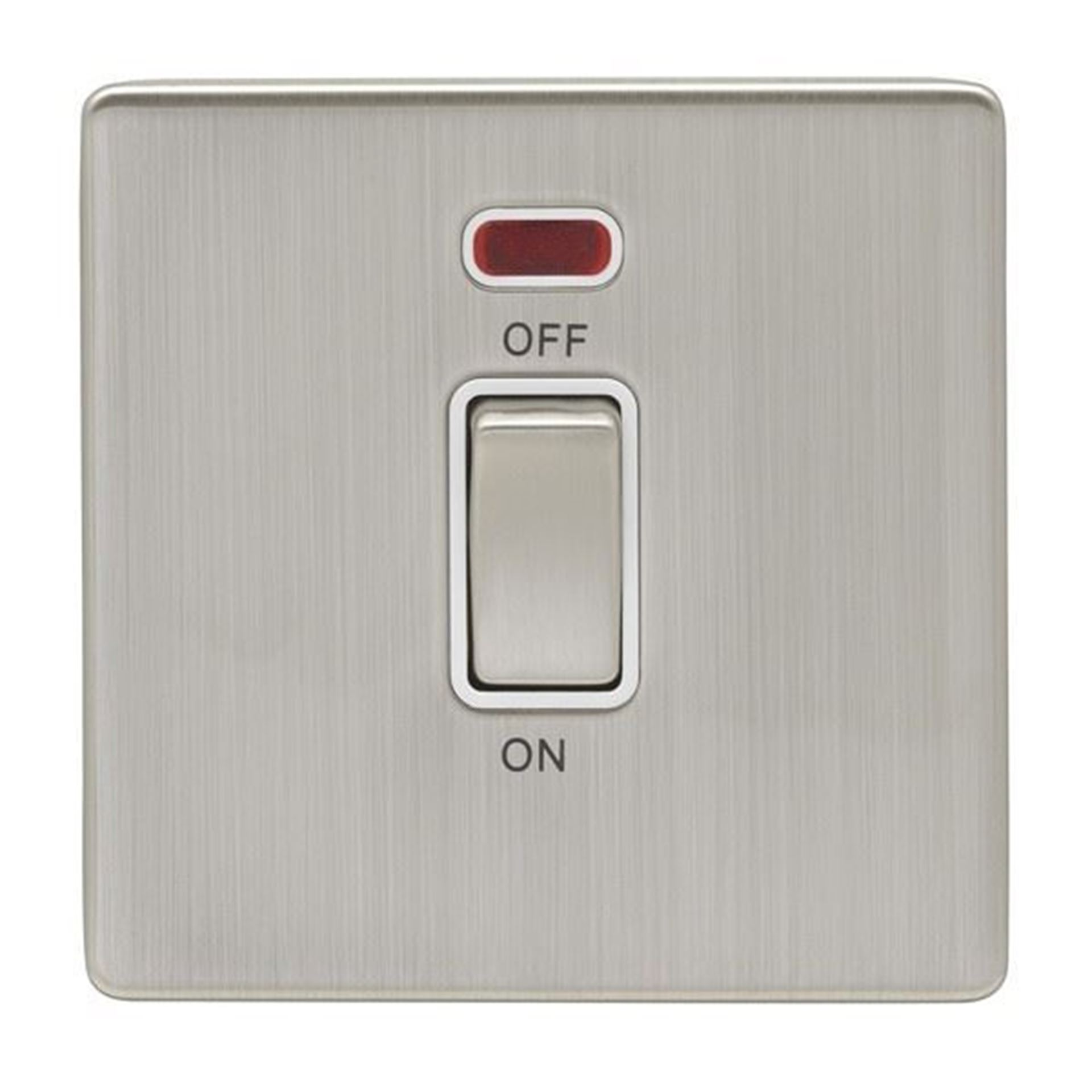 Eurolite 45Amp DP Cooker Switch With Neon Double Concealed Satin Nickel Plate Matching Rocker White Trim ECSN45ASWN SNW