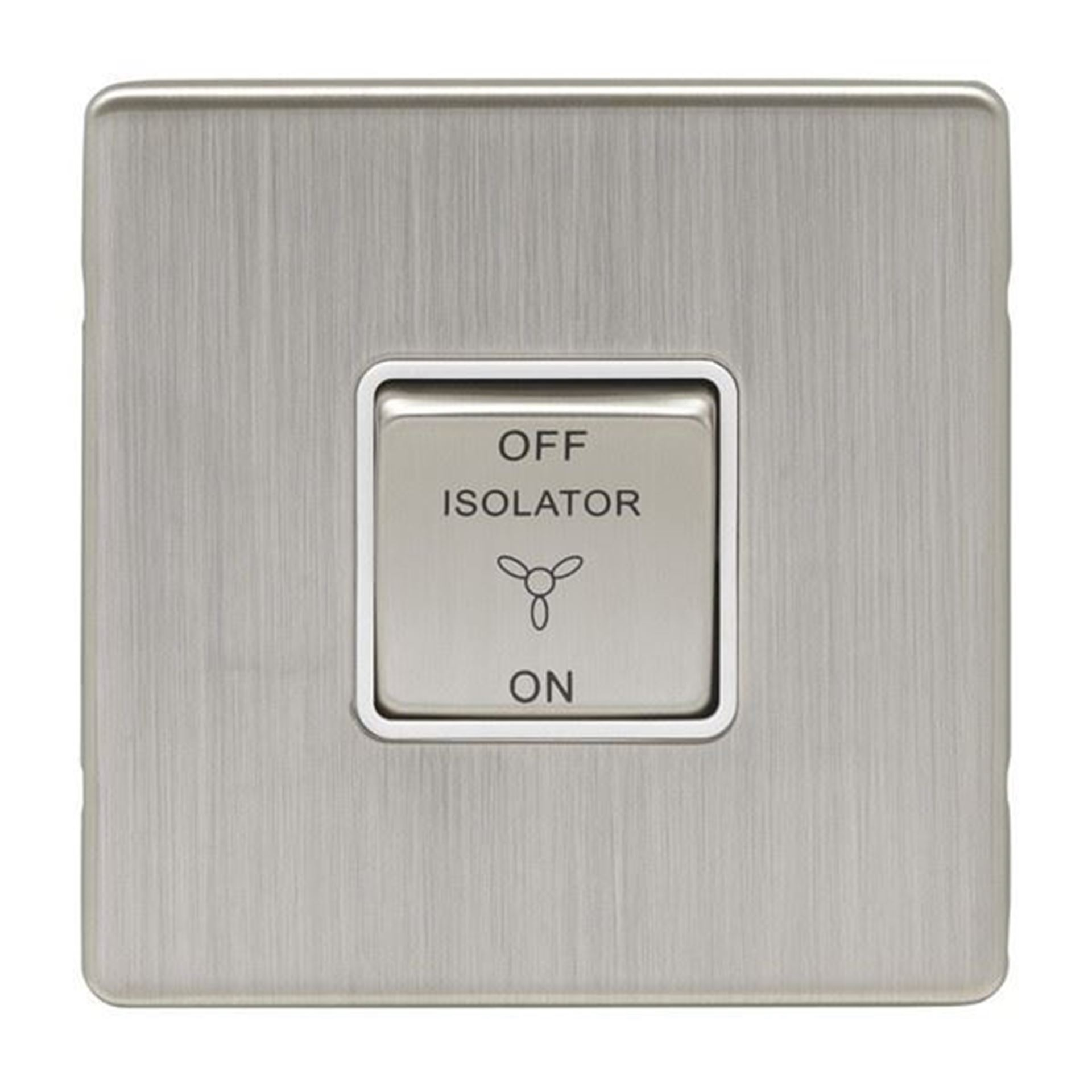 Eurolite 10Amp Fan Isolator Switch Concealed Satin Nickel Plate Matching Rocker White Trim ECSNFSW SNW